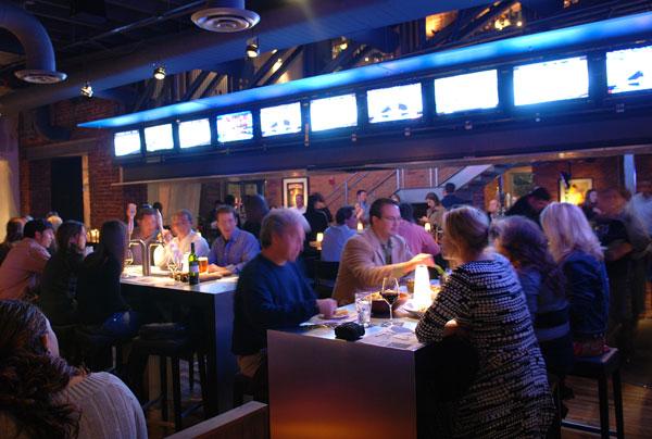 sports bar with industrial modern feel
