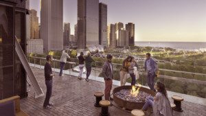rooftop terrace with view of chicago