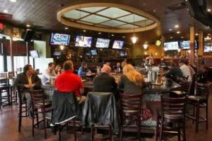 sports bar with center table in large room